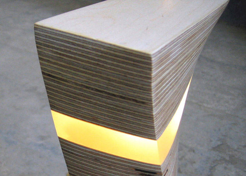sculpted plywood lamp