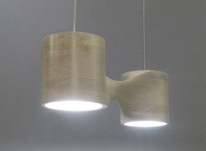 Bleached cherry pendant lamp seen from in front