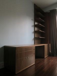 walnut desk and shelves