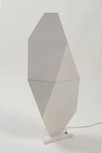 Geometric veneered lamp with the light turned off