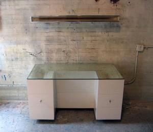 sculpted plywood desk