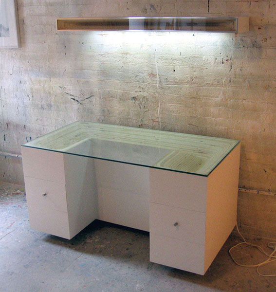 sculpted plywood desk