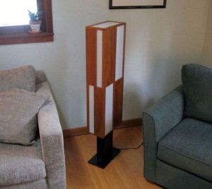 teak and acrylic floor lamp