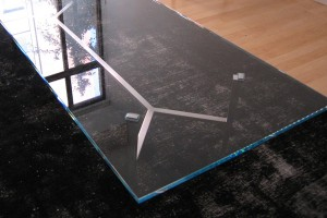 aluminum and glass coffee table
