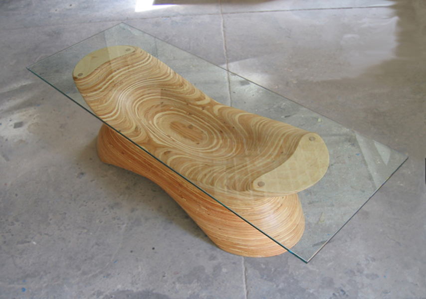 sculpted plywood table