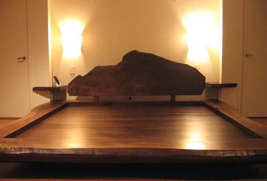 live edge walnut bed