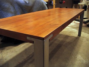cherry and stainless steel table