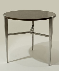 walnut and aluminut side table