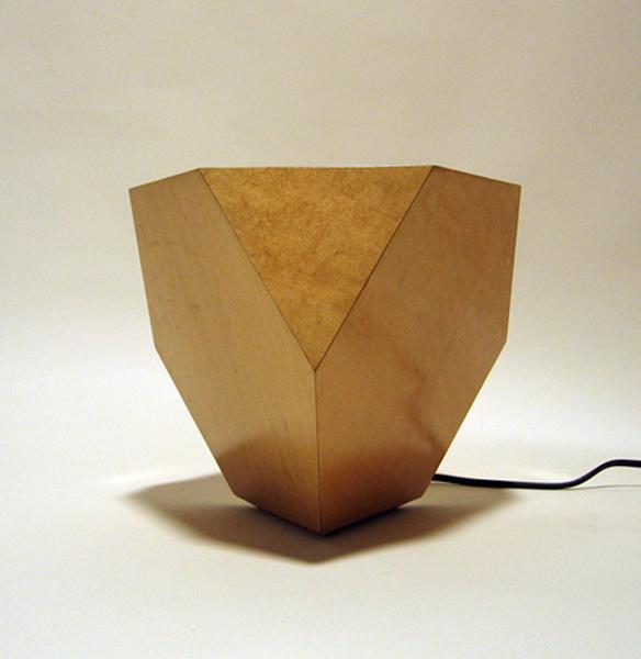 veneered tetrahedron lamp