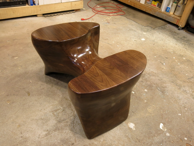 sculpted walnut table