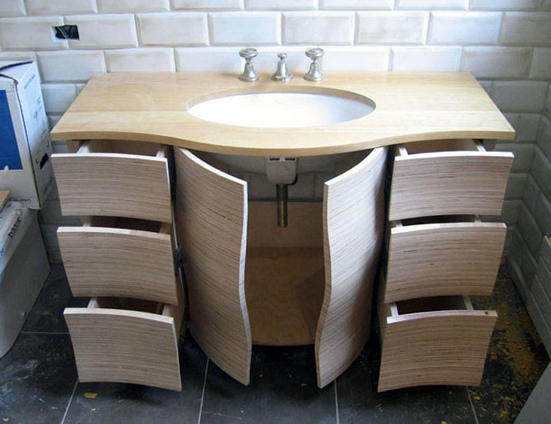 sculpted plywood vanity