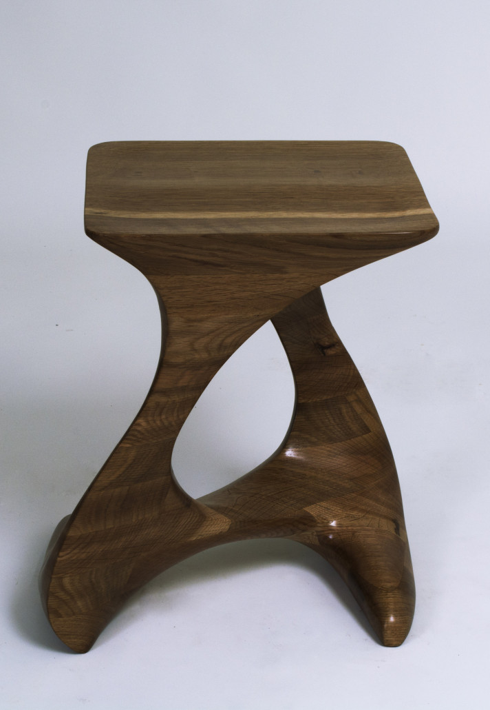 wooden stool, hand-carved